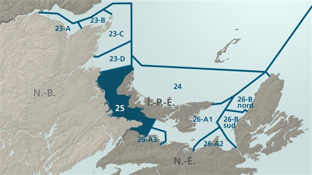 Carte des zones de pêches en Atlantique