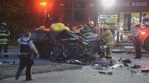 Une collision est survenue entre deux véhicules vendredi soir à Maple Ridge.