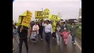 L'une des manifestations qui ont suivi l'annonce de la fermeture de la base militaire de Summerside.