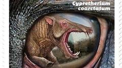 Un dinosaure de l'enferde la Saskatchewan sur des timbres