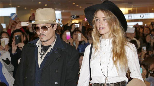 Johnny Depp et Amber Heard en janiver 2015 à Tokyo, au Japon