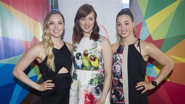 Les trois soeurs Dufour-Lapointe (Justine, Maxime et Chloé) au dîner-conférence Sport Mondial le 9 juillet 2015 à Montréal