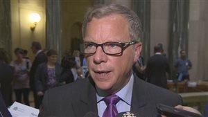 Le premier ministre de la Saskatchewan Brad Wall après le dépôt du budget mercredi.