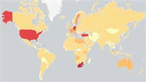 Carte des demandes d'asile reçues par pays