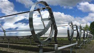 Les panneaux d'énergie solaire de Cascades à Kingsey Falls, dans le Centre-du-Québec.