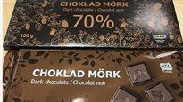 Des barres de 100 grammes de chocolat noir et de chocolat noir 70 % vendues par Ikea font l'objet d'un rappel annoncé le 24 juin 2016 par l'Agence canadienne d'inspection des aliments.