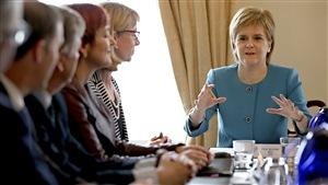 La première ministre de l'Écosse Nicola Sturgeon s'est adressée au cabinet lors d'une réunion d'urgence à Édimbourg, le 25 juin 2016, après le vote en faveur du Brexit.