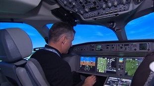Simulateur de vol d'un avion C Series