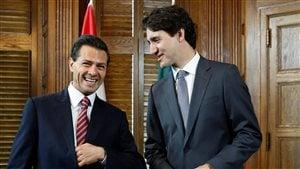 Le président Pena Nieto dans les bureaux du premier ministre Trudeau lors de sa visite dans la capitale nationale