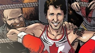 The variant cover of the comic Civil War II: Choosing Sides #5, featuring Prime Minister Justin Trudeau surrounded by the members of Alpha Flight.
