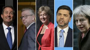 Liam Fox, Michael Gove, Andrea Leadsom, Stephen Crabb et Theresa May