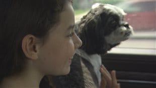 Jessie, 10 ans, et son chien Spot, à leur retour à Fort McMurray après 53 jours loin de la maison.