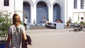 La nouvelle place devant l'église Saint-Charles-de-Limoilou sera dévoilée au public samedi.