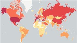 Carte du monde avec les principales destinations touristiques