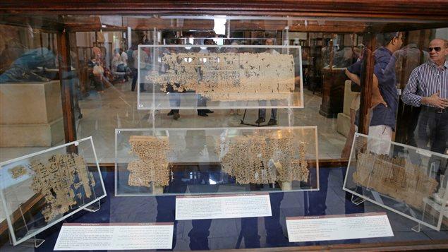 Vitrine du musée du Caire avec des éléments du plus vieux papyrus découvert en Égypte