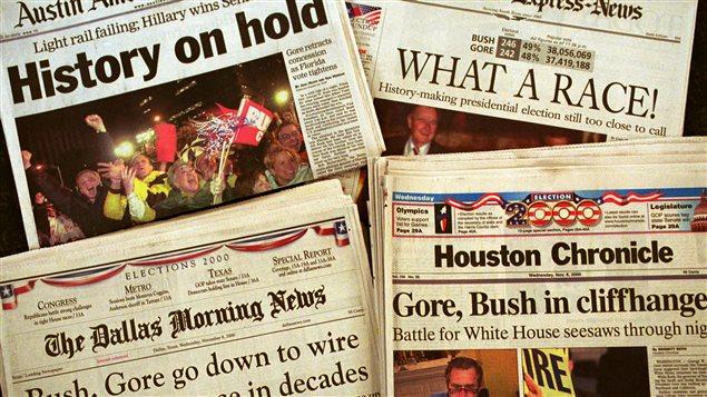 Les unes de quatre quotidiens au lendemain de l'élection présidentielle de 2000