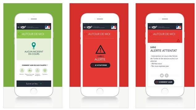 L'app « Système d'alerte et d'information des populations du gouvernement français » telle qu'illustrée dans l'App Store