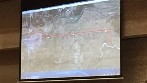 Voici le tracé du pipeline qui devra transporter de l'eau depuis la rivière Saskatchewan Sud jusqu'à l'usine de traitement des eaux de Prince Albert.