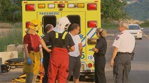 Les opérations des pompiers pour secourir l'homme ont duré près de trois heures