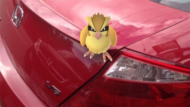 Un des monstres virtuels de Pokémon Go sur une voiture à Vancouver.