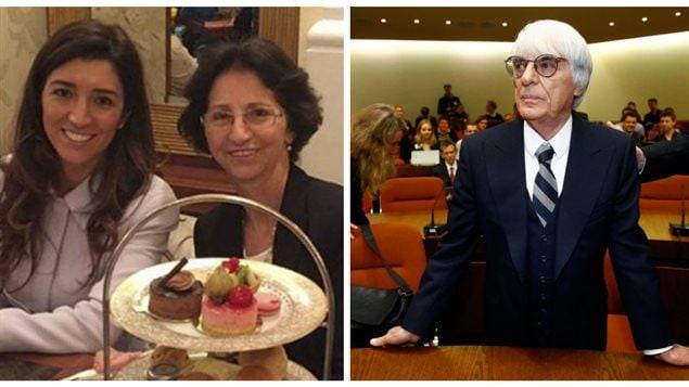 Fabiana Fosi (à gauche), la femme du patron de la F1, Bernie Ecclestone (à droite), en compagnie de sa mère, Aparecida Schunck (au centre), qui vient d'être kidnappée au Brésil.