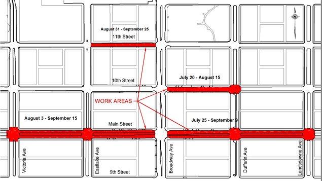 Des travaux d'aqueduc et de pavage sur les rues perpendiculaires à Broadway se poursuivent jusqu'en septembre