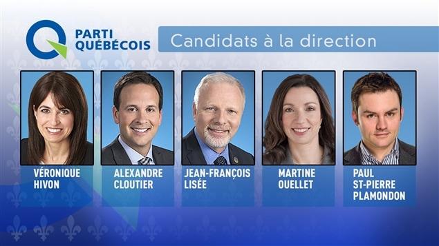 Les cinq candidats à la course à la direction du Parti québécois