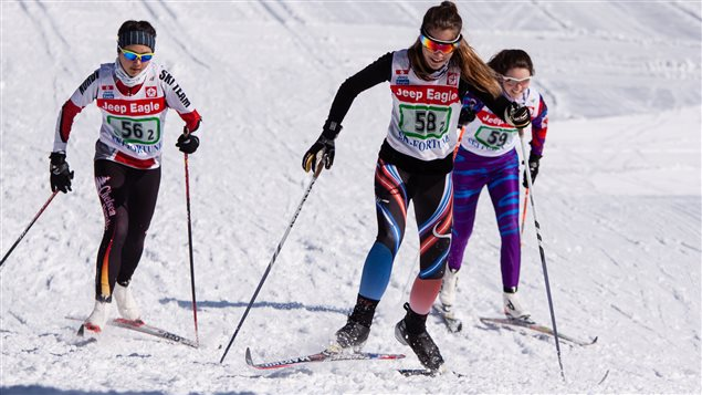 Magalie lors d'une compétition de ski de fond