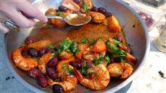 Vos meilleures recettes franco-manitobaines : crevettes au beurre, tomates, olives et sambuca