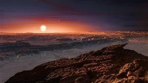 Représentation artistique de l'exoplanète Proxima B