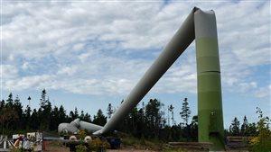 Cette éolienne de 80 mètres s'est effondrée pendant des travaux d'entretien routiniers au Cap-Breton.