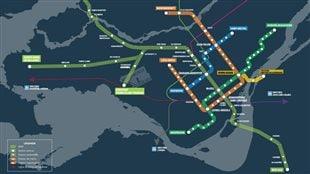 Le REM reliera à la fois le centre-ville de Montréal, la Rive-Sud, l'Ouest-de-l'Île (Sainte-Anne-de-Bellevue), la Rive-Nord (Deux-Montagnes) et l'aéroport.