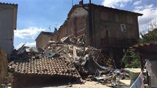 Le centre du village de Saletta a été complètement détruit.