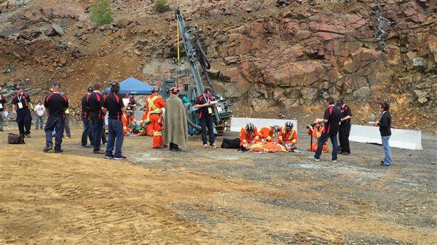 Une mise en situation dans le cadre de la Compétition internationale de sauvetage minier.