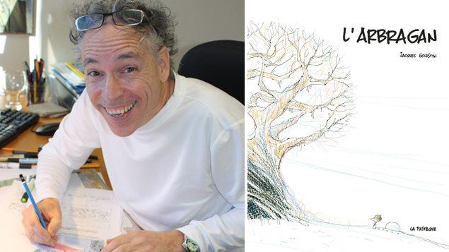 L'auteur Jacques Goldstyn et la couverture de son livre « L'arbragan »