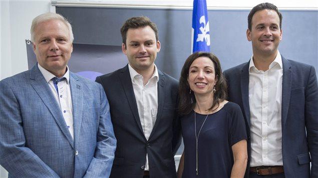 De gauche à droite : Jean-François Lisée, Paul St-Pierre-Plamondon, Martine Ouellet et Alexandre Cloutier