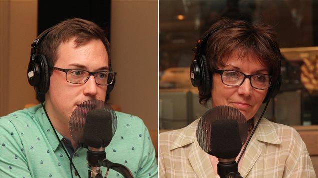 Pierre-Luc Brisson et Francine Pelletier dans les studios de Plus on est de fous, plus on lit!