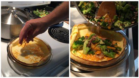 Ajouter le fromage et les légumes