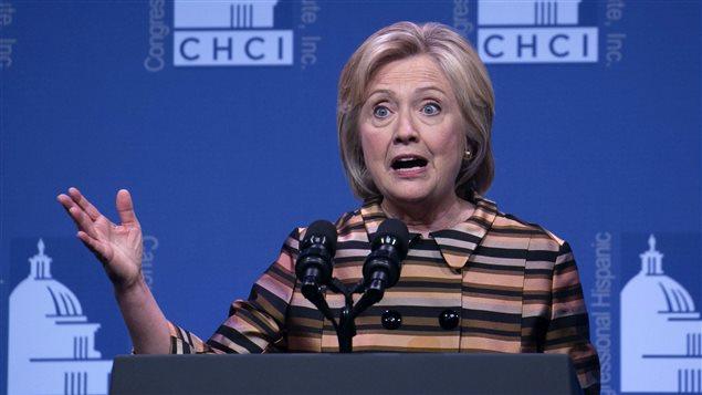 Hillary Clinton livrant un discours devant les membres du Congressional Hispanic Caucus Institure, à Washington.