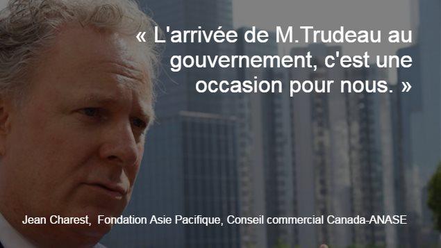 Jean Charest est membre du conseil d'administration de la Fondation Asie Pacifique et président honoraire du Conseil commercial Canada-ANASE