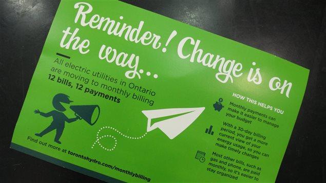 Publicité d'Hydro Toronto au sujet du passage à la facturation mensuelle