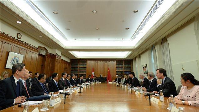 Le premier ministre canadien Justin Trudeau lors d'une rencontre avec le premier ministre chinois Li Keqiang, à Ottawa