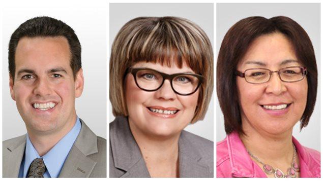 Les députés fédéraux Erin Weir, Sheri Benson et Georgina Jolibois du NPD