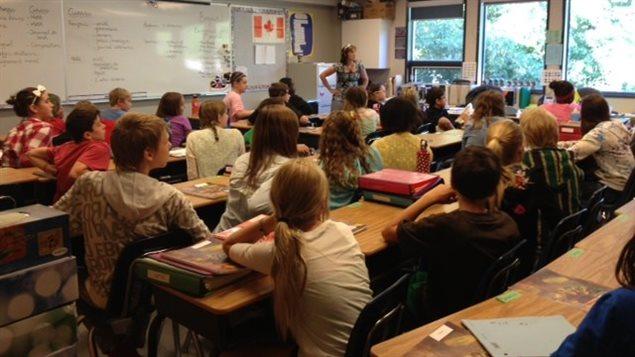 Une salle de classe du pavillon secondaire Gustave Dubois de l'École canadienne-française de Saskatoon