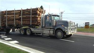 Un camion chargé de billots de bois