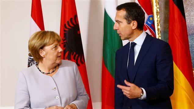 La chancelière allemande Angela Merkel et le chancelier autrichien Christian Kern à la rencontre de Vienne.