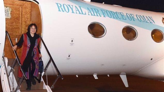 Homa Hoodfar à son arrivée au Sultanat d'Oman