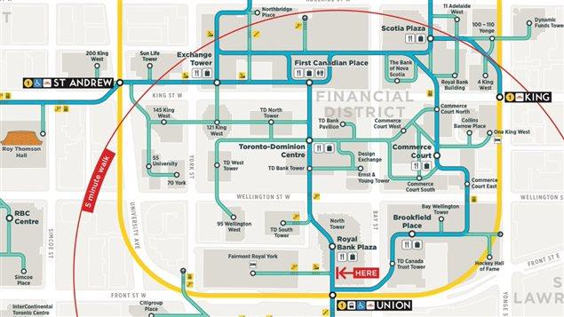 La nouvelle carte du PATH, le réseau souterrain de la ville de Toronto.