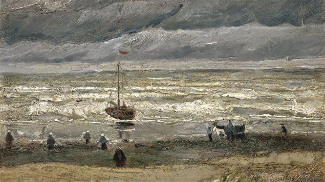 « Vue de la mer de Scheveningen (tempête) », a été peint en 1882 par Vincent Van Gogh. La peinture a été dégradée sur une surface de 5 cm X 2 cm.
