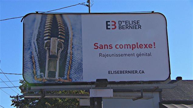 Une affiche de publicité de la Dre Élise Bernier de Sherbrooke « sans complexe!, rajeunissement génital. elisebernier.ca